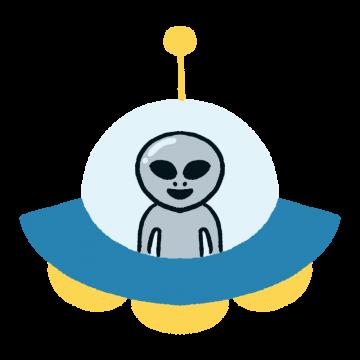 UFOに乗った宇宙人のイラスト