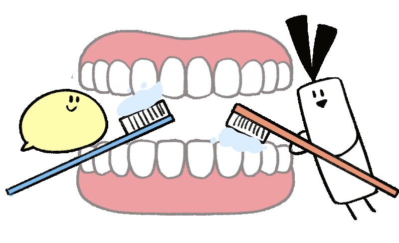 キャラクターが歯を磨いているイラスト