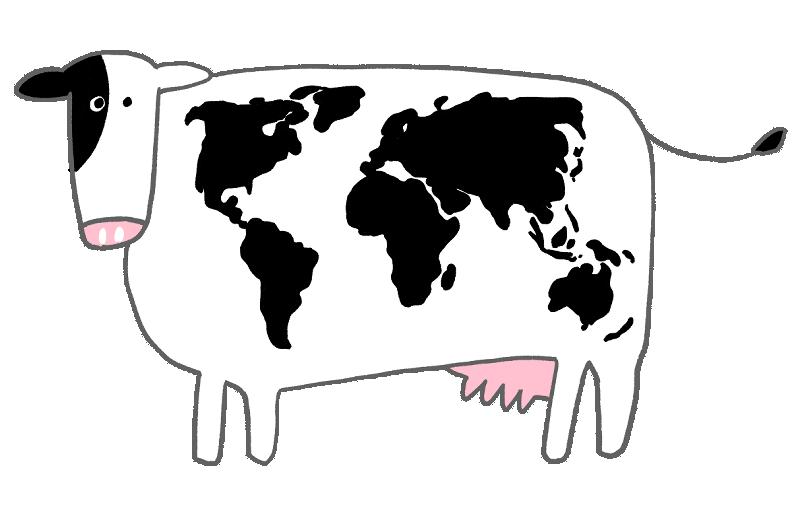 世界地図模様の牛のイラスト