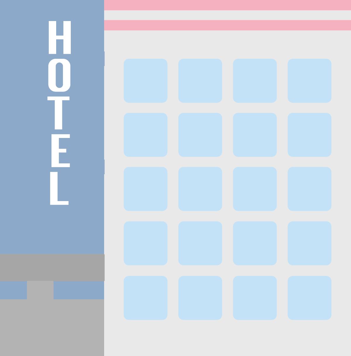 看板が横に出ているホテルのイラスト