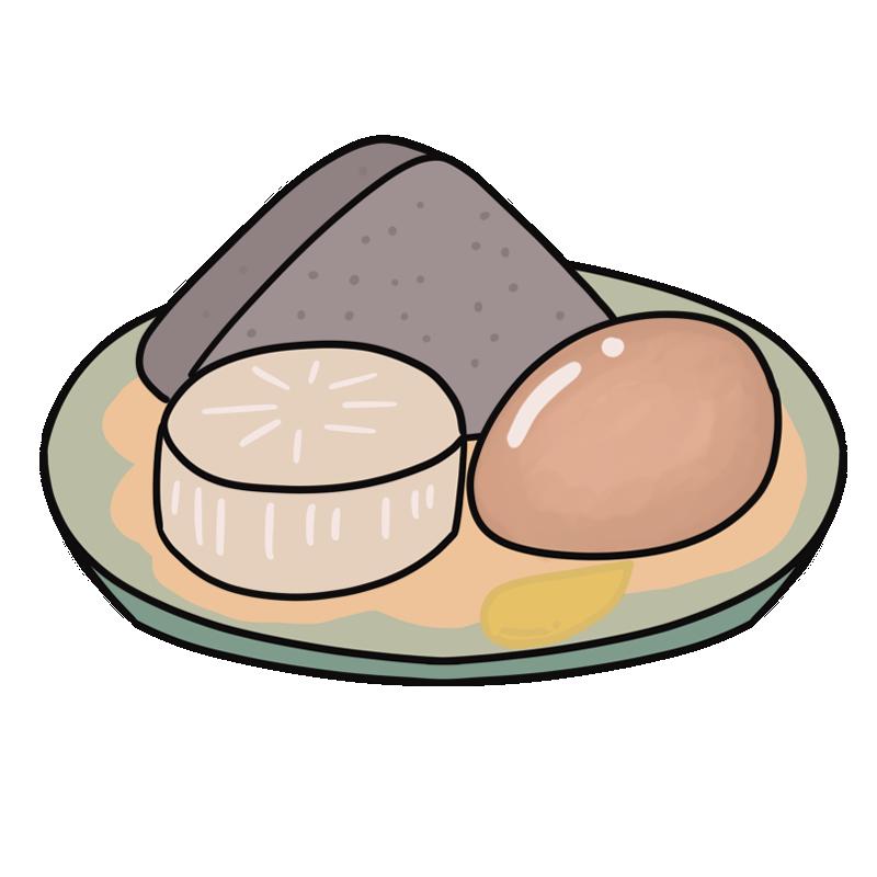 おでんの具材(こんにゃく・卵・大根)のイラスト
