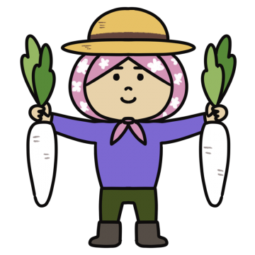 大根を持つ麦わら帽子をかぶった女性のイラスト