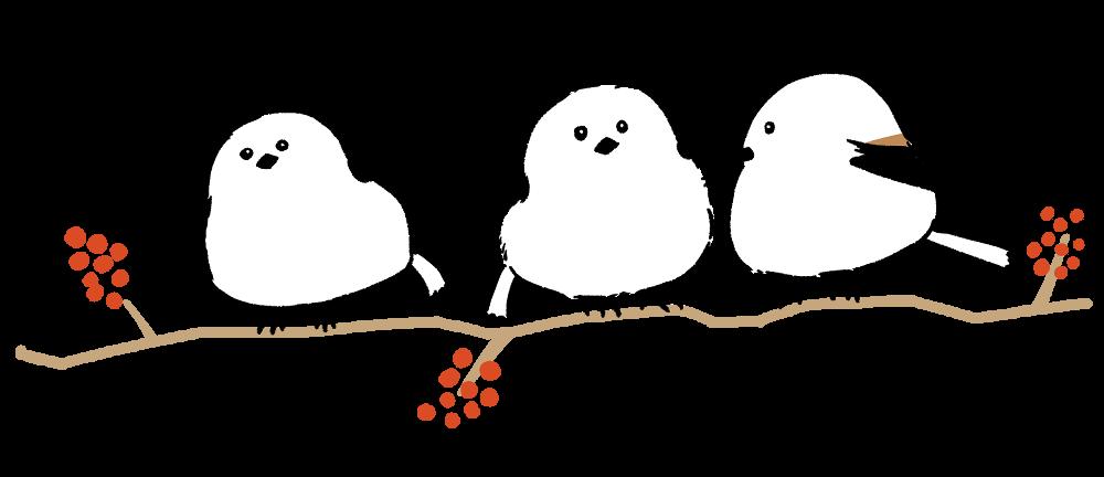 ナナカマドの木にとまるシマエナガのイラスト