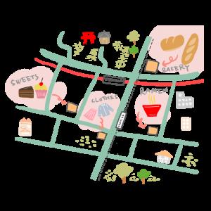 観光ガイド風なマップのイラスト