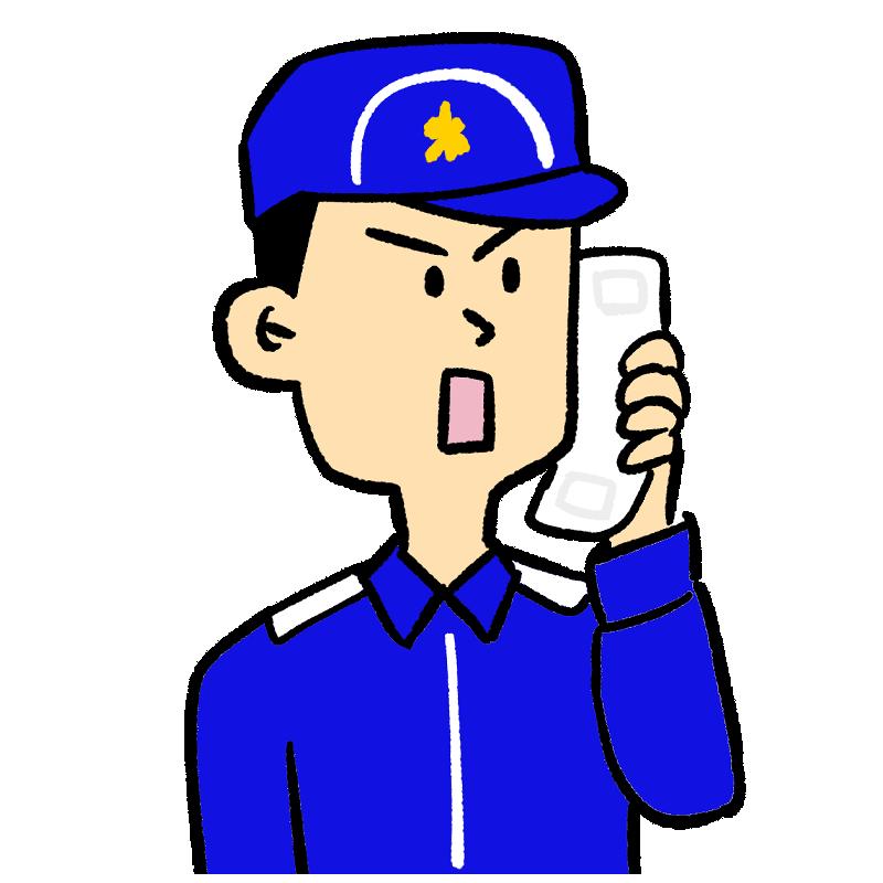 118番の通報を受ける海上保安庁の職員のイラスト