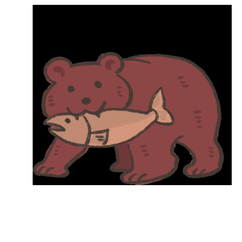 木彫りのクマが魚をくわえているイラスト