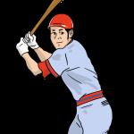 野球選手がバッターボックスで構えているイラスト