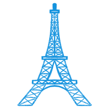 ブルーのエッフェル塔のイラスト