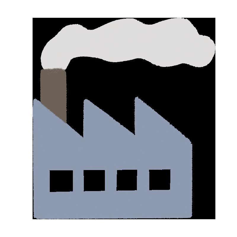工場から煙が上がる様子のイラスト