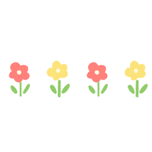並んだ小花のイラスト