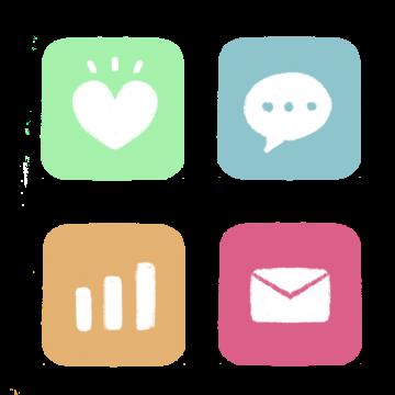 並んだアプリアイコンのイラスト