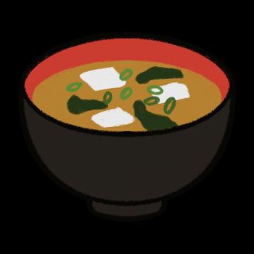 黒いお椀の味噌汁のイラスト