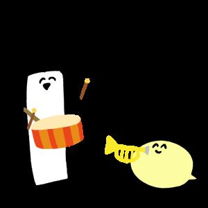 楽器を演奏をするキャラクターのイラスト