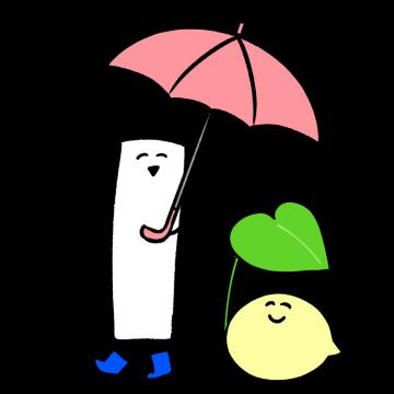 傘をさしているキャラクターのイラスト