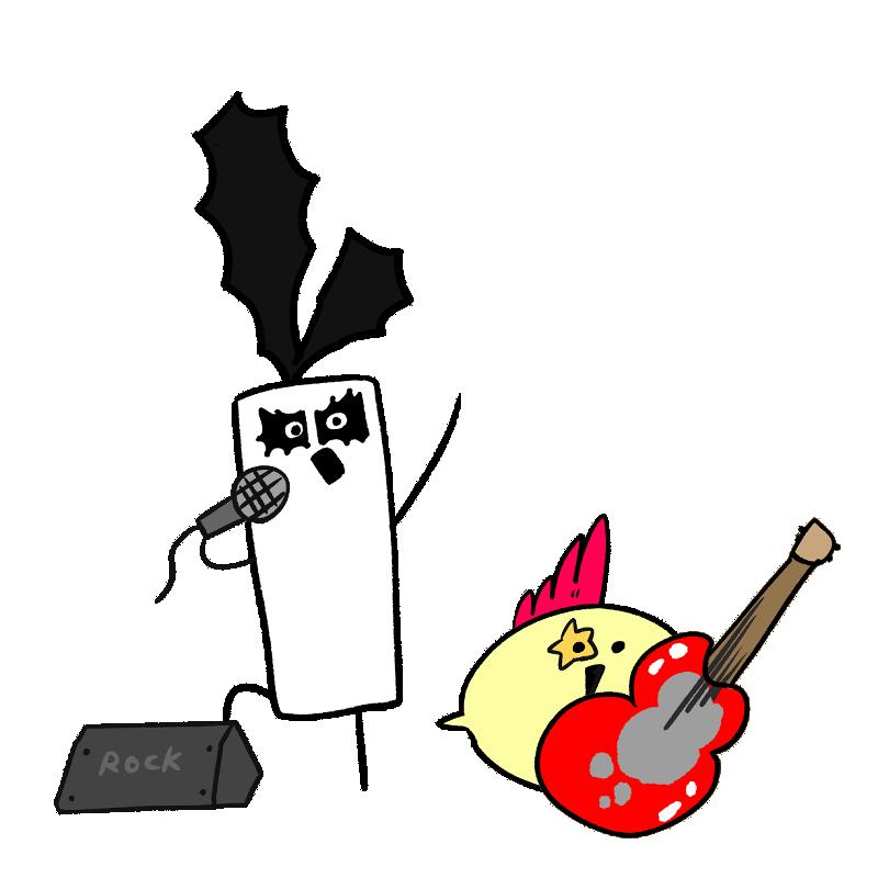 ロック歌手風のキャラクターイラスト