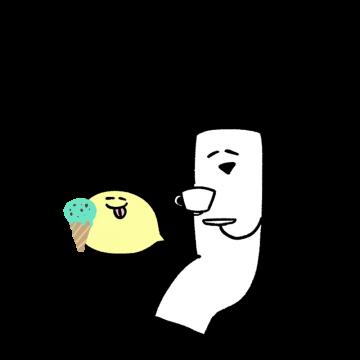 ティータイムをしているキャラクターのイラスト
