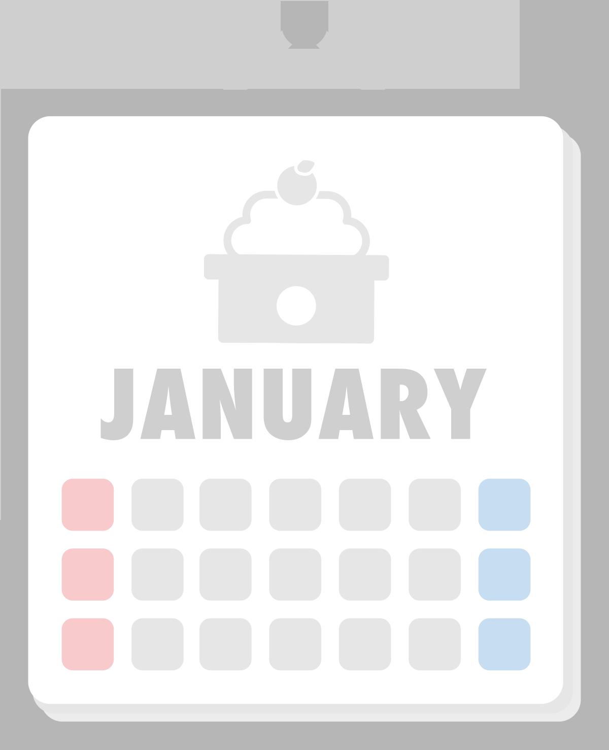 1月のカレンダーのイラスト