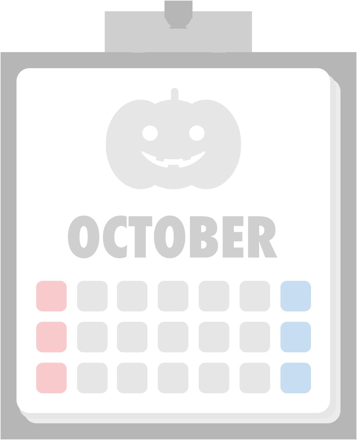 10月のカレンダーのイラスト