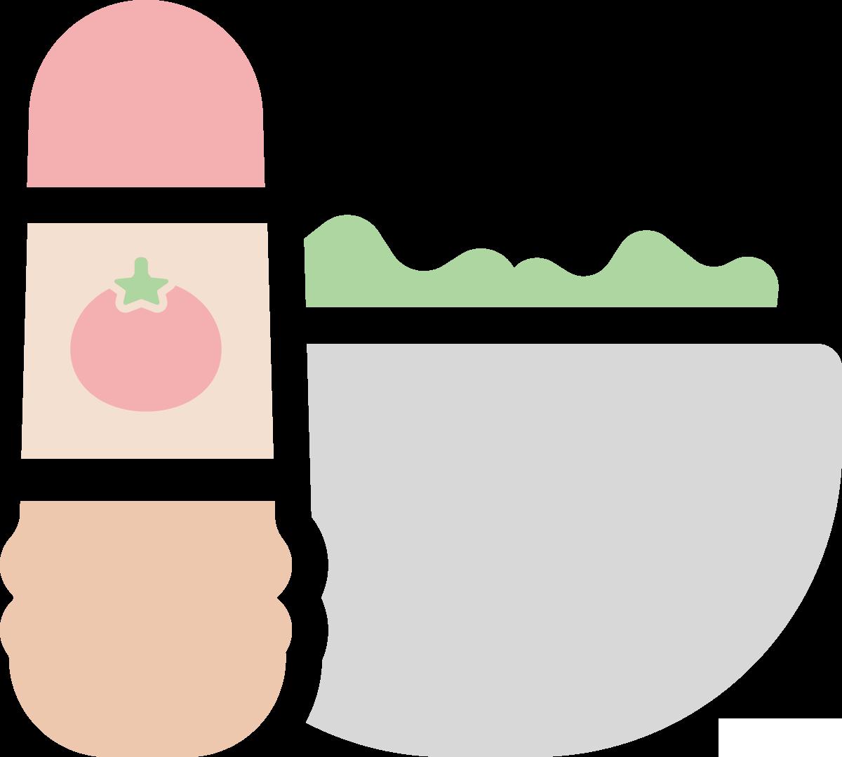 ドレッシングとサラダのイラスト