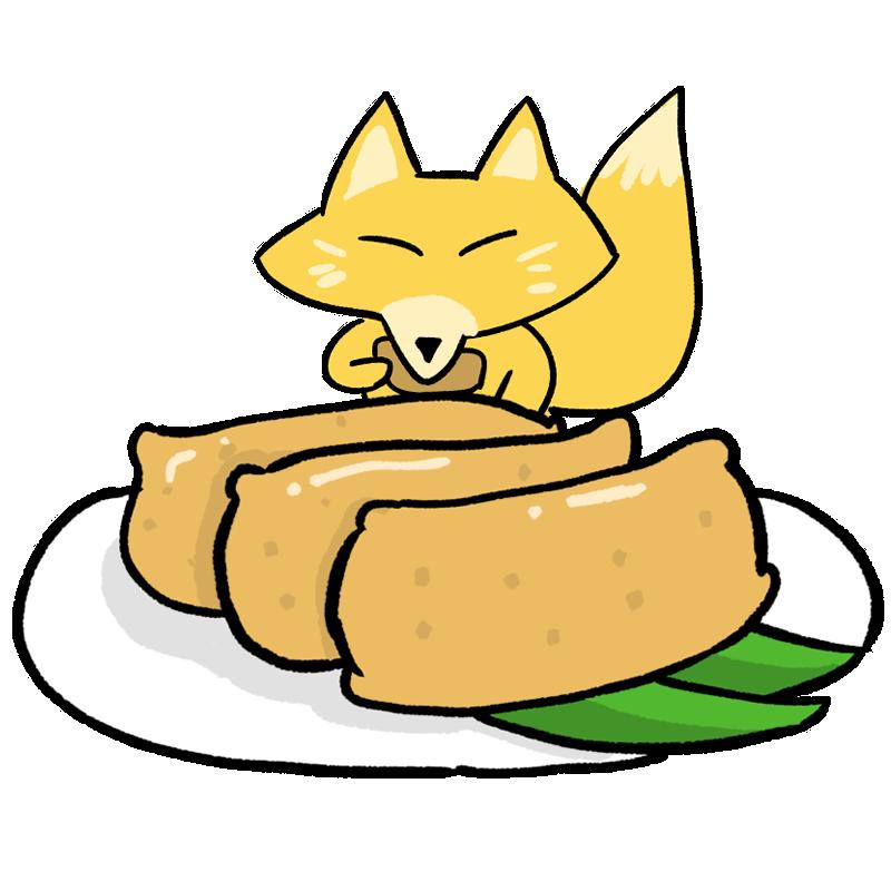 いなりを食べるキツネのイラスト