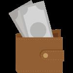 財布からお札が見えているイラスト