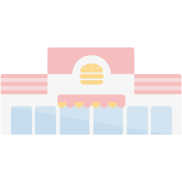ハンバーガーショップのイラスト