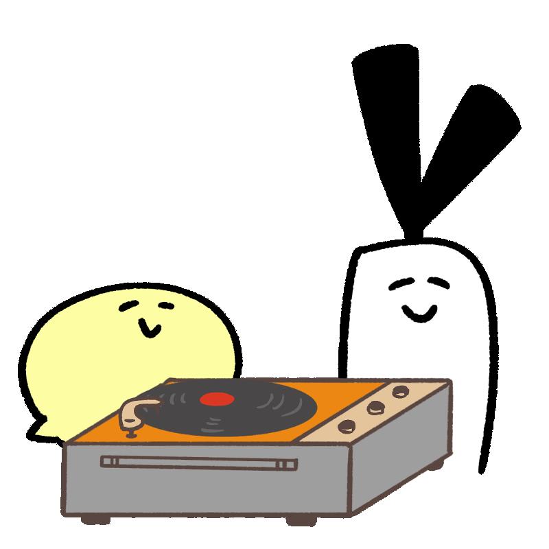 レコードを聞いているキャラクターのイラスト