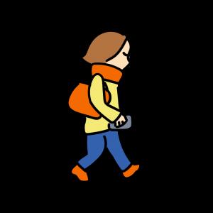 寒い時期に歩く女性のイラスト