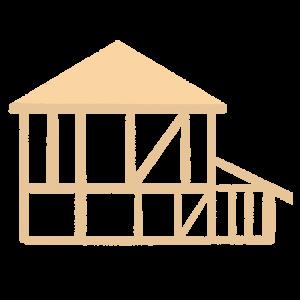建てる過程の家のイラスト