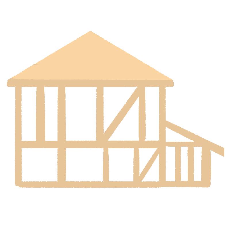 建てる過程の家の骨組みのイラスト