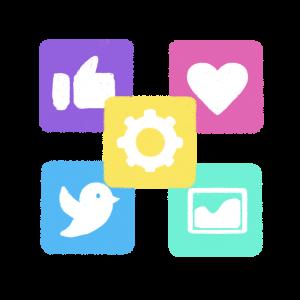 いろいろなアプリが集まったイラスト