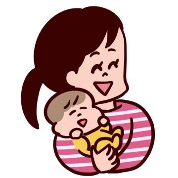 笑顔で赤ちゃんを抱っこするお母さんのイラスト
