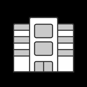 シンプルなエレベータ付きの会社の建物のイラスト