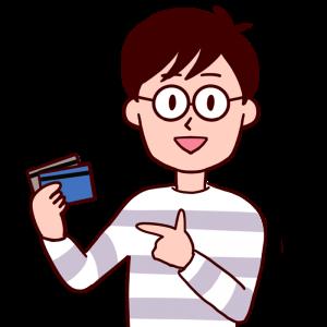 指差ししながらクレジットカードを紹介する男性のイラスト