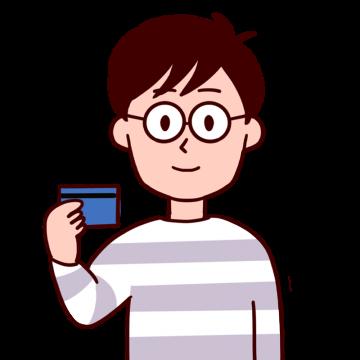 クレジットカードを持っている男性のイラスト