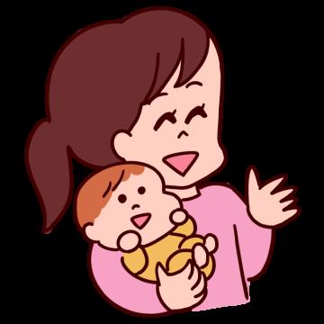 赤ちゃんを抱っこしたお母さんが笑顔でおしゃべりしているイラスト