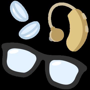 メガネとコンタクトと補聴器のイラスト