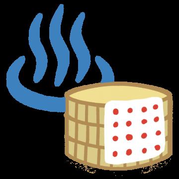 温泉と桶のイラスト