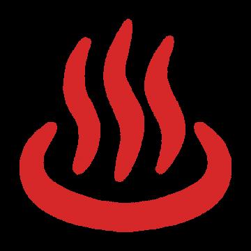 赤い温泉マークのイラスト