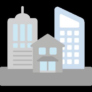いろいろな建物が集合している街の外観のイラスト