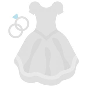 指輪とウェディングドレスのイラスト