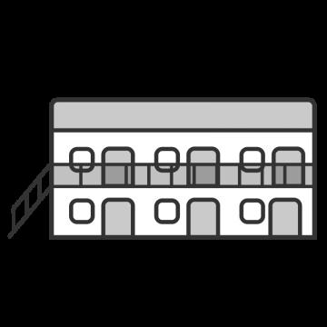 シンプルな2階建の学生寮のイラスト