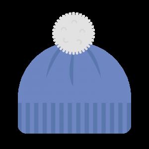 白いポンポンがついている青いニット帽のイラスト