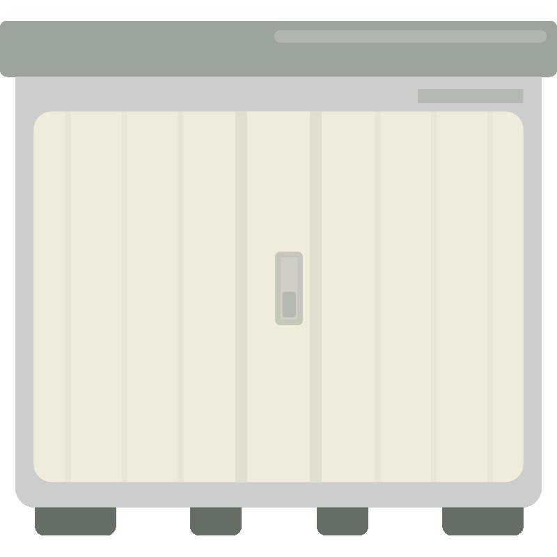 扉が閉まっている物置小屋のイラスト