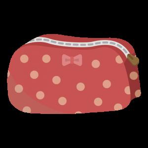 水玉模様の赤い化粧ポーチのイラスト