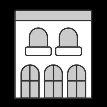 シンプルな伝統的なヨーロッパ風の建物のイラスト