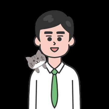 肩に猫を乗せたサラリーマンのイラスト
