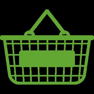 緑の買い物カゴのイラスト