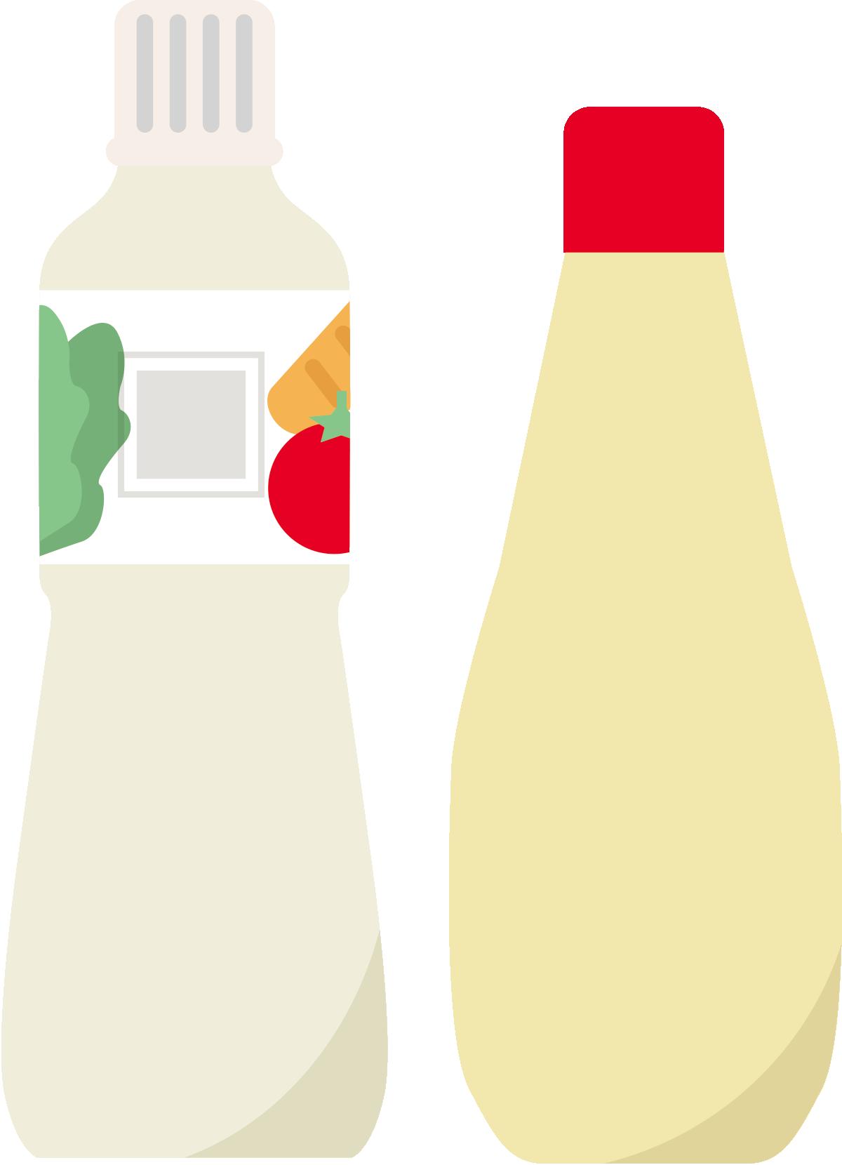 サラダドレッシングとマヨネーズのイラスト