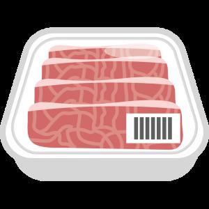 パックに入ったの牛肉のイラスト